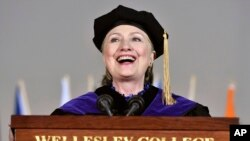 Former Secretary of State Hillary Clinton delivers the commencement address at Wellesley College.