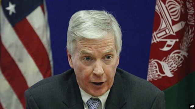 U.S. Ambassador to Afghanistan Ryan Crocker speaks during a press conference at the U.S. Embassy in Kabul, December 10, 2011.