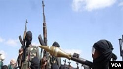 Sekelompok nggota militan Al-Shabab di Mogadishu.