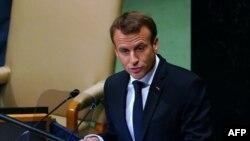 Le président français Emmanuel Macron prend la parole lors du débat général de la 73ème session de l'Assemblée générale des Nations Unies à New York, le 25 septembre 2018.