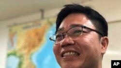 2018年二月一名北韓脫北者在南韓受訪資料照。