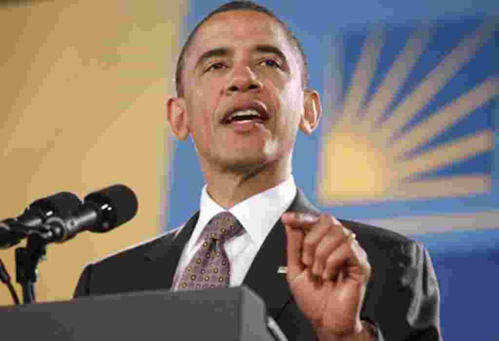 President Barack Obama speaks at the National Hispanic Prayer Breakfast in Washington, May 12, 2011