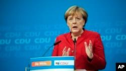 앙겔라 메르켈 독일 총리가 20일 베를린에서 기자회견을 하고 있다.