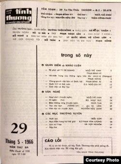 Nguyệt san Sinh Viên Y Khoa Tình Thương số 29, 1966: trang 1, Mục Lục. [tư liệu Ngô Thế Vinh]