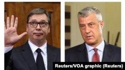 Predsednik Srbije Aleksandar Vučić i predsednik Kosova Hašim Tači (foto: Reuters/VOA graphics)