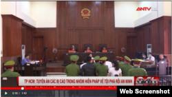 Phiên xử phúc thẩm nhóm Hiến pháp ngày 8/1/2021 ở Tp. HCM. Photo ANTV