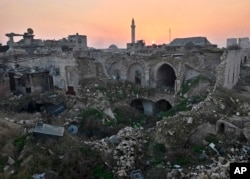 FILE - A Jan. 19, 2017, photo shows a general view of the destruction in the old city of Aleppo, Syria.