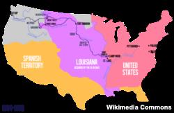 메리웨더 루이스와 윌리엄 클라크의 탐험을 보여주는 지도.