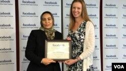 """مونیکا بکرت رئیس پالیسی جهانی فیسبوک و فوزیه زمانی بیات به نمایندگی از نهاد """"لعل و انار"""""""