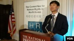 한국 국가안보전략연구원의 김광진 연구위원이 26일 미국 워싱턴 DC의 내셔널프레스클럽에서 '수용소 주식회사'(Gulag Inc.)라는 보고서를 발표했다.