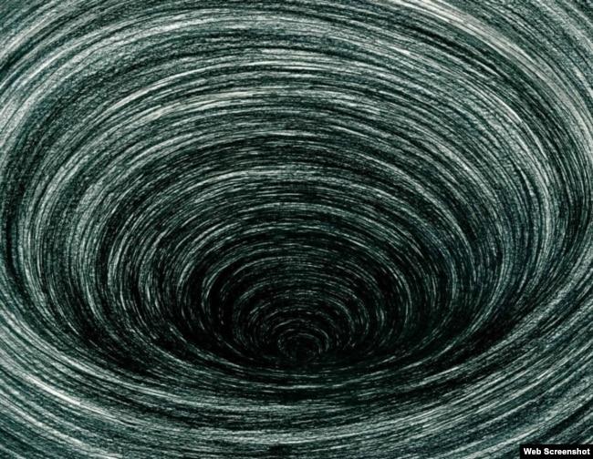 រូបគំនូរមួយនៅក្នុងសៀវភៅរបស់លោក ព្រំ វណ្ណៈ និងអ្នកស្រី Jocelyn Pederick ដែលចំណងជើងថា «The Dead Eye and The Deep Blue Sea» ឬ «ពិភពអន្ធការនៅលើមហាសមុទ្រដ៏ធំល្វឹងល្វើយ»។ (រូបភាពដកស្រង់ពីគេហទំព័រ)