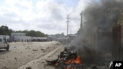 Scene of the deadly car-bombing in Mogadishu, Somalia, Oct. 18, 2011.