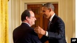 2月11日奥巴马总统在白宫欢迎到访的法国总统奥朗德。