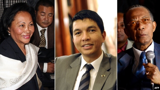 A combination of file photos shows Madagascar's now disqualified presidential candidates (L-R) Lalao Ravalomanana, Andry Rajoelina and Didier Ratsiraka.