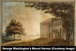 "Benjamin Latrobe's ""A View of Mount Vernon with the Washington Family"" (Courtesy of George Washington's Mount Vernon)"