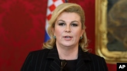 Presiden Kroasia, Kolinda Grabar-Kitarovic mengumumkan rencana pemilu dini 11 September (foto: dok).