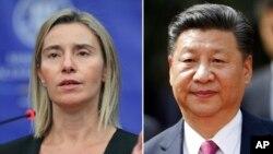 شی جین پینگ رئیس جمهوری چین (راست) و فدریکا موگرینی مسئول سیاست خارجی اتحادیه اروپا