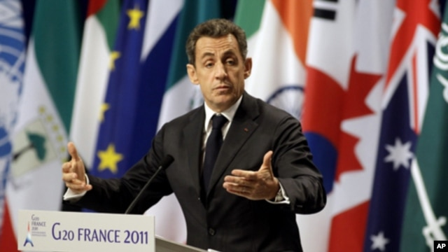 French President Nicolas Sarkozy at G20 summit in Cannes, Nov. 3, 2011.