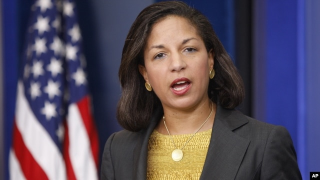 United Nations Ambassador Susan Rice speaks to reporters about North Korea, June 12, 2009, in the White House Pressroom.