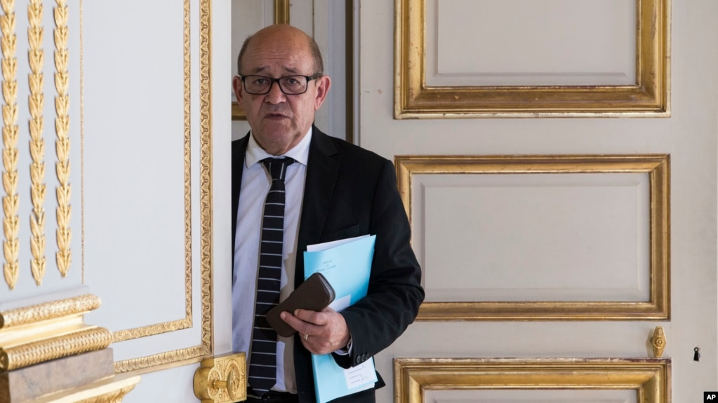 French Foreign Minister Jean Yves Le Drian is seen at the Elysee Palace in Paris, France, June 3, 2017. Le Drian met Saturday in Doha with his Qatari counterpart, Sheikh Mohammed bin Abdulrahman Al-Thani.