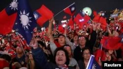 國民黨總統候選人韓國瑜的支持者1月10日高雄造勢。