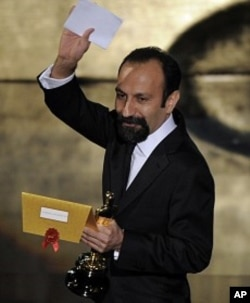 "Asghar Farhadi, of Iran, accepts the Oscar for best foreign language film for ""A Separation"" during the 84th Academy Awards on Feb. 26, 2012, in the Hollywood section of Los Angeles."