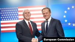 From left to right: Mr Mike PENCE, Vice-President of the USA; Mr Donald TUSK, President of the European Council. Shoot location: Bruxelles - BELGIUM Shoot date: 20/02/2017