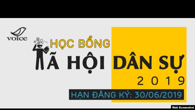 Logo Khóa học XHDS do VOICE tổ chức, thời gian đăng ký cho niên khóa 2019 được gia hạn tới 15/7/2019. Facebook VOICE.