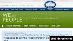Hơn 139 nghìn người đã ký vào bản thỉnh nguyện thư, tức là hơn nhiều so với con số người cần ký để Toà Bạch Ốc lên tiếng.