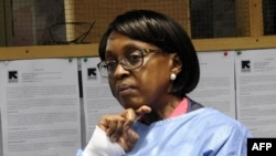 The director of the World Health Organization (WHO) for the Africa region, Matshidiso Moeti looks on during a visit to Zuma Town on the outskirts of the capital Monrovia, Liberia, April 22, 2015. In an exclusive interview with VOA, Moeti said in May, 2016, West Africa was better prepared to tackle future outbreaks of Ebola.