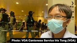 新同盟區議員譚凱邦批評5月27日警方在香港多區嚴密佈防,令香港變成警察國家限制市民言論及表達自由 (攝影:美國之音湯惠芸)