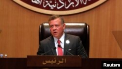 FILE - Jordan's King Abdullah II speaks during the 28th Ordinary Summit of the Arab League at the Dead Sea, Jordan, March 29, 2017.