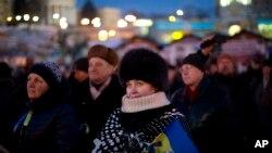 Des manifestants antigouvernementaux à Kiev