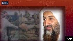 Фото Осами бін Ладена на фоні зображення надання гуманітарної допомоги потерпілим внаслідок повені