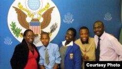 (Left to right): Sibongile Mbanje, Joseph Lansburg, Rufaro Kabasa and Brian Sibanda, with Thando Sibanda, youth coordinator at the U.S. Embassy. (Courtesy Photo)
