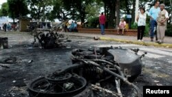 Burnt police motorcycles are the result of a protest against Venezuela's President Nicolas Maduro's government in Palmira, Venezuela, May 16, 2017.