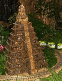 A holiday train exhibit at the US Botanic Garden in Washington includes a model of an ancient temple in Tikal, Guatemala