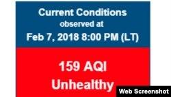 Kết quả theo dõi chất lượng không khí ở Hà Nội của Đại sứ quán Mỹ tối 7/2.
