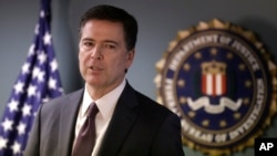 FILE - FBI Director James Comey says the Islamic State group was encouraging would-be homegrown terrorists to act and that some of those arrested had been communicating with the militants through encrypted message platforms.