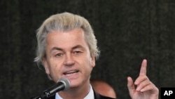 FILE - Geert Wilders, leader of the Dutch anti-Islam Freedom Party, faces prosecution for hate speech.