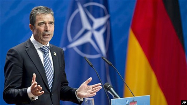 NATO Secretary General Anders Fogh Rasmussen at the Berlin ministerial meeting, April 15, 2011