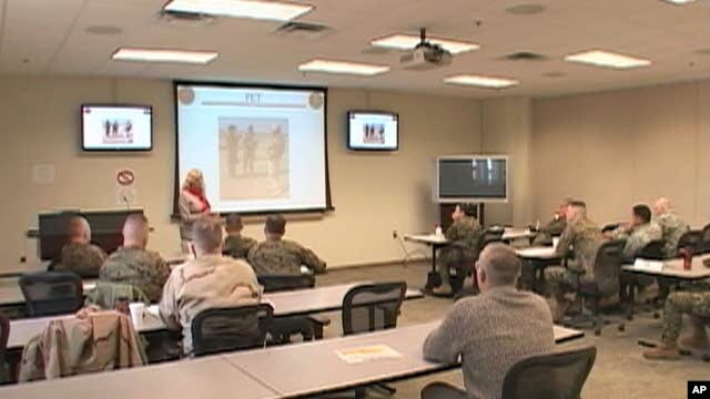 US Marines attending a cultural training class in Quantico, Virginia