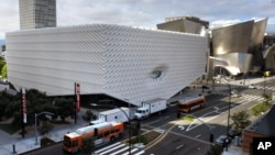 Photo shows a view of the new Broad Museum in downtown Los Angeles, Sept. 15, 2015.