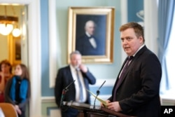 FILE - Iceland's Prime Minister Sigmundur David Gunnlaugsson speaks during a parliamentary session in Reykjavik, April 4, 2016.
