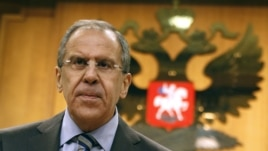 Russian Foreign Minister Sergey Lavrov speaks at a news conference in Moscow, Russia, June 9, 2012.