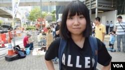 參與雨傘運動一周年活動的中學六年級學生Minna (美國之音特約記者湯惠芸照)