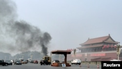 지난 28일 중국 베이징 톈안먼 광장 인근에서 발생한 차량 돌진 사건 현장. 경찰은 이번 사건을 테러 행위로 규정하고, 용의자들을 검거했다.