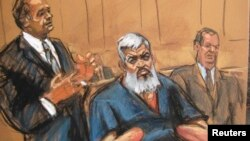FILE - Abu Hamza al-Masri, the radical Islamist cleric facing U.S. terrorism charges, sits with his legal team in Manhattan federal court in New York in this artist's sketch.