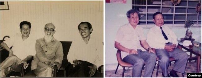 Sau 1975 nhiều khách từ Hà Nội vào Nam đều muốn tới thăm toà soạn Bách Khoa 160 Phan Đình Phùng, Sài Gòn; hình trái, chủ nhiệm Bách Khoa Lê Ngộ Châu (2006), học giả Đào Duy Anh (1988), ông Nguyễn Hùng Trương (2005), giám đốc nhà sách Khai Trí, 62 đường Lê Lợi Sài Gòn; hình phải, Lê Ngộ Châu, nhà thơ Cù Huy Cận (2005), tác giả Lửa Thiêng, đảng viên cộng sản kỳ cựu và là Bộ trưởng Văn hoá Giáo dục chính phủ CHXHCN Việt Nam. [tư liệu của Viễn Phố]