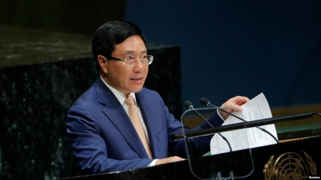 Phó Thủ tướng Việt Nam Phạm Bình Minh lên tiếng về tình Biển Đông căng thẳng tại Đại hội đồng LHQ, ngày 28/09/2019, nhưng không nhắc đến Trung Quốc.